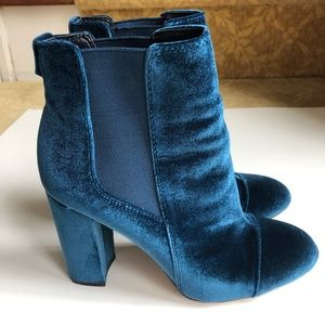 SAM EDELMAN case jewel blue velvet boot size 7